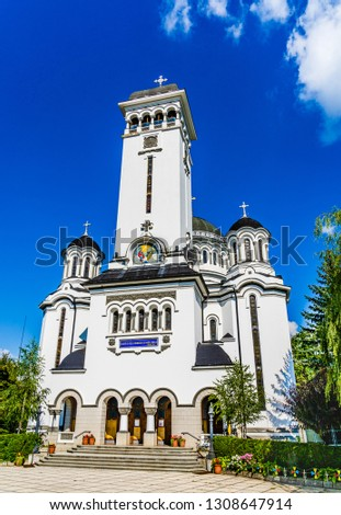 Sighisoara, Mures, Transilvania, Romania: The Orthodox Holy Trinity church designed in the Neo-Byzantine  Revival architecture style built in built in 1934 - 1937 by architect Dumitru Petrescu Gopeş. #1308647914