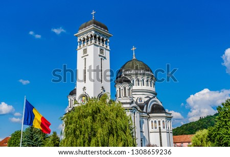 Sighisoara, Mures, Transilvania, Romania: The Orthodox Holy Trinity church designed in the Neo-Byzantine  Revival architecture style built in built in 1934 - 1937 by architect Dumitru Petrescu Gopes. #1308659236