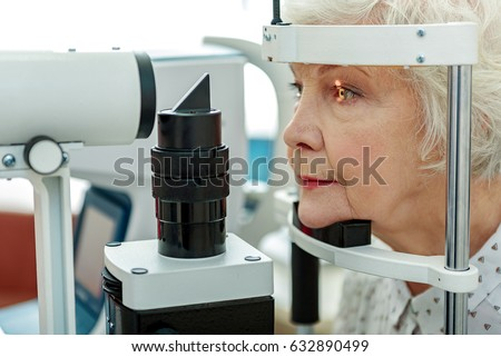 sight of old woman verifying by ...