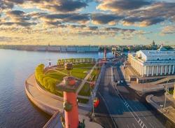 Sights Saint Petersburg. City in Russia. Spit of Vasilyevsky Island. Rostral columns in St. Petersburg. Landscape of Russian city. Stock exchange building in Saint Petersburg. Tour Russian Federation