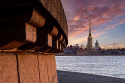 Sights Saint Petersburg. Russia museums. View of Peter and Paul Fortress. City landscape of Petersburg with Neva. Panorama with Peter and Paul Fortress. Guide to Saint Petersburg. Tourism in Russia