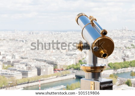 Sightseeing Telescope at the Eiffel Tower (Paris, France)