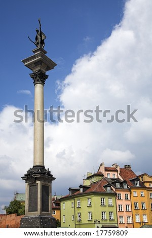 Sigismund column in warsaw castle square in old town
