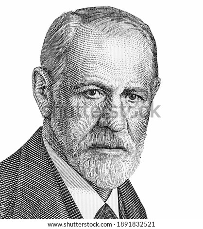 Sigmund Freud Portrait from Austria  Banknotes. Austrian neurologist who founded the discipline of psychoanalysis. Sigmund Freud (1856-1939)