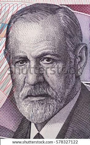 Sigmund Freud portrait on Austria 50 schilling banknote closeup macro. Austrian neurologist and the founder of psychoanalysis.