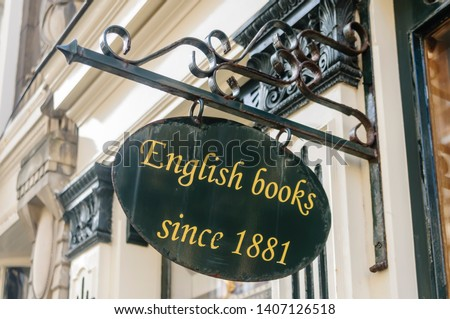 Sign advertising English Books since 1881 at a Dutch bookshop, The Hague. #1407126518