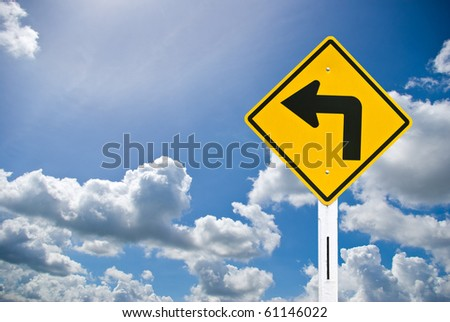 Sign and blue sky , Direction concept
