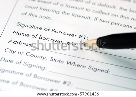 Sign and fill in the name for the borrower