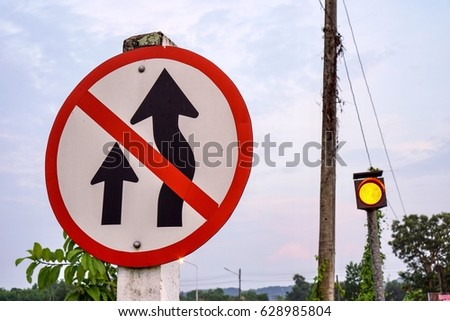 sign and symbol no over taking #628985804