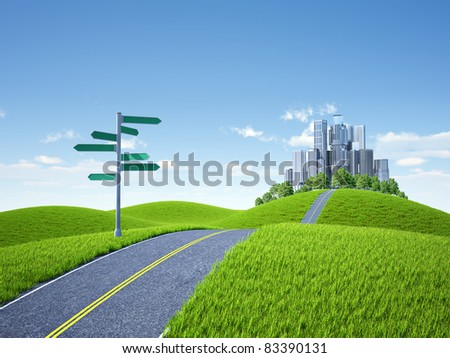 Sign arrow and road in city - stock photo