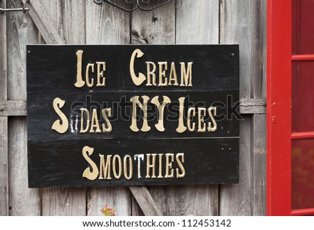 Sign at ice cream shop.  St. Augustine, FL, USA.
