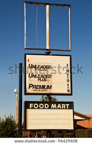 Sign at out of business gas station on Route 66.  Make your own prices. - stock photo