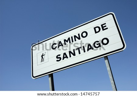 Sign at the pilgrim road to  Santiago of Compostela in Spain