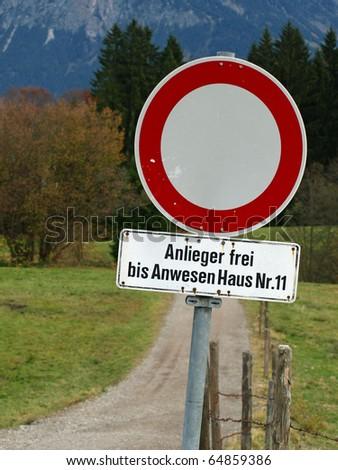 sign closing a road