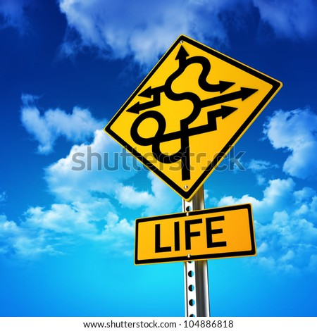 Sign concept symbolizing life is full of twists and turns with a sky background