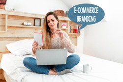Sign displaying E Commerce Branding. Conceptual photo establish an image of your company in ycustomers eyes Abstract Ordering Food Online, Solving Problems On Internet Forums