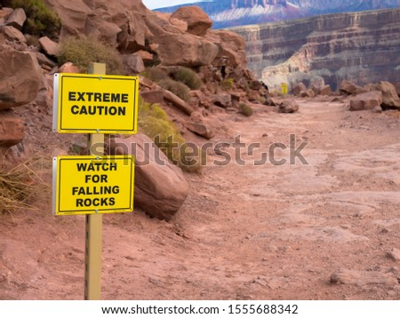 Sign, Exteme caution, watch for falling rocks, Grand Canyon  Stock photo ©