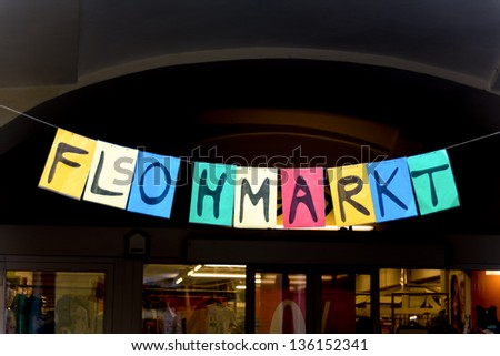 sign flea market, symbol photo for sale of used goods by private individuals