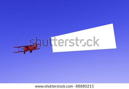 sign flying with plane