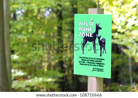 sign for animal protection in a forest