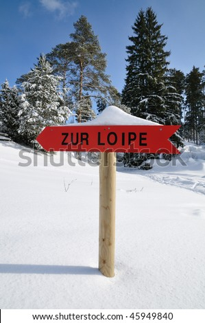 sign for cross country skiing trail