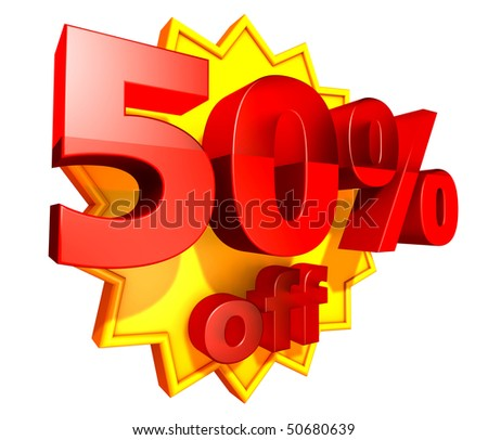 Sign for fifty per cent off in red ciphers at a yellow star on a white background