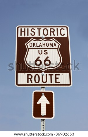 sign for historic route 66 in Oklahoma in the USA