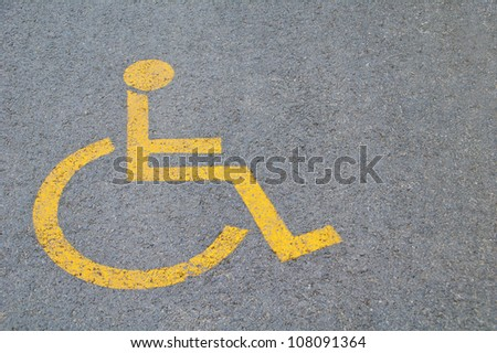 Sign for parking space reserved for disabled people