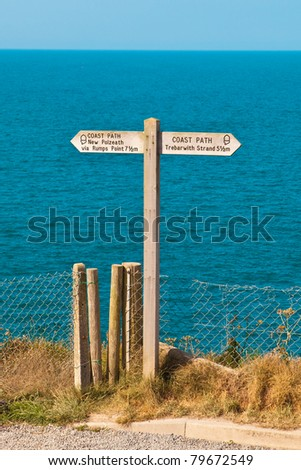 Sign for part of the South West Coast path in Cornwall, UK