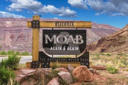 Sign for town of Moab, Utah