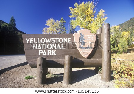 Sign for Yellowstone National Park, Wyoming