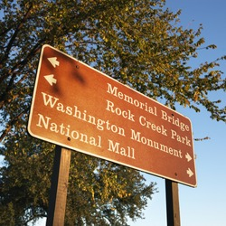 Sign giving directions to landmarks in Washington, D.C., USA.
