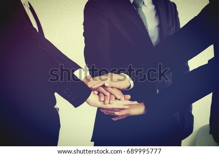 Sign hand for teamwork, sign of hand for business team   #689995777
