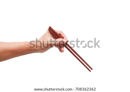 Sign hand hold chopsticks for design work. #708362362