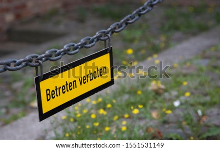 Sign hanging on a chain, no entry, Berlin, Germany, Europe