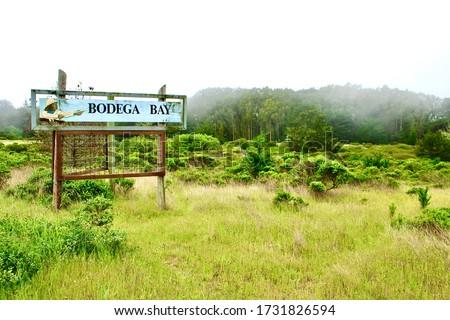Sign in Bodega Bay California Foto stock ©