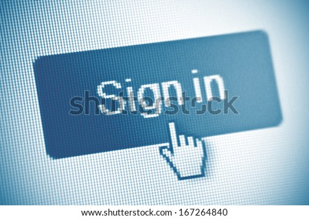 Sign in button on computer screen