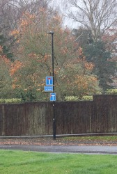 Sign informing motorists of two roads which are dead ends and unsuitable for buses.