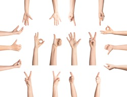 Sign language concept. Collage with female hands showing different gestures on white background, isolated