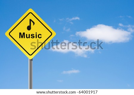 Sign music note sky background. - stock photo