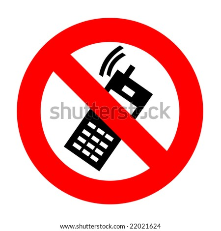 "sign ""no cell"" isolated on white"