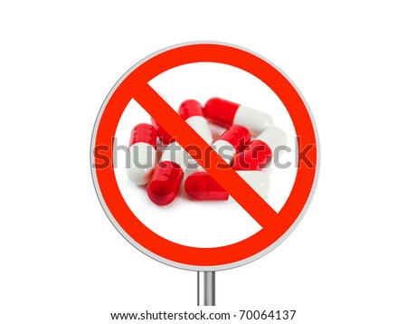 Sign No pills isolated on white background