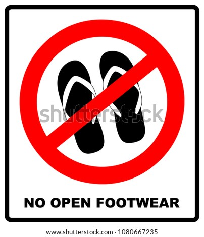 7dfe26a513dcb Sign no sandals. No slipper red prohibition plane icon on white background.  Ban flip