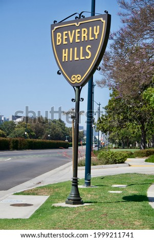 Sign of Beverly Hills and road view  Stockfoto ©