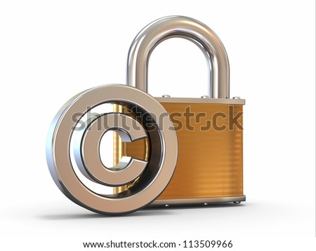 Sign of copyright with padlock on white background. 3d