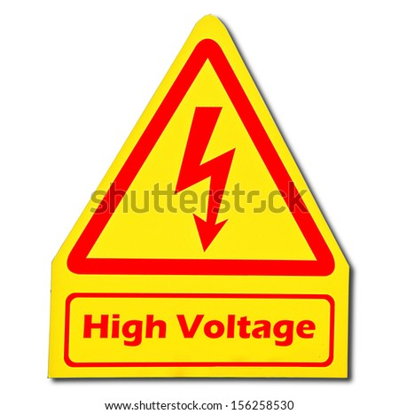 Sign of danger of electricity from high voltage isolated on white background