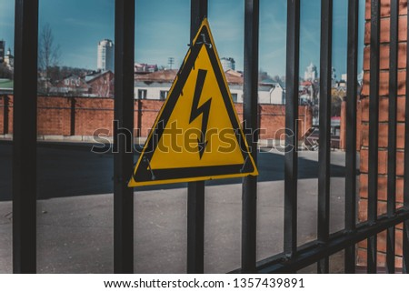 Sign of danger of high electricity voltage. #1357439891