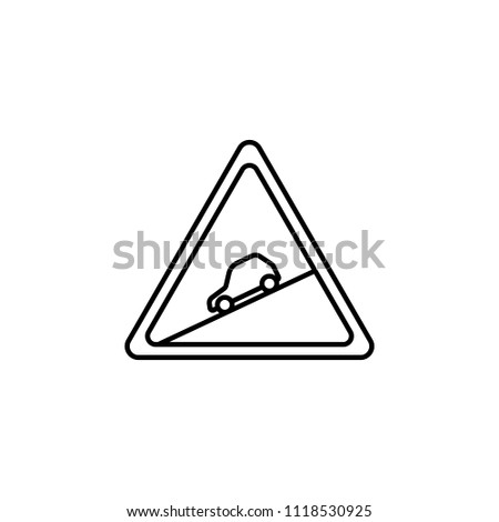 sign of descent icon. Element of traffic signs icon for mobile concept and web apps. Thin line sign of descent icon can be used for web and mobile on white background