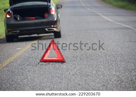 Sign of emergency stop car on the road