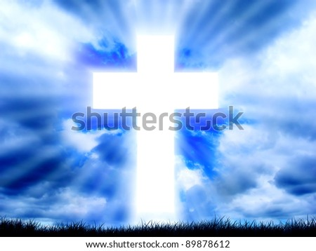 Sign of faith  Cross in sky  Stock Photo 79946470 - Avopix com